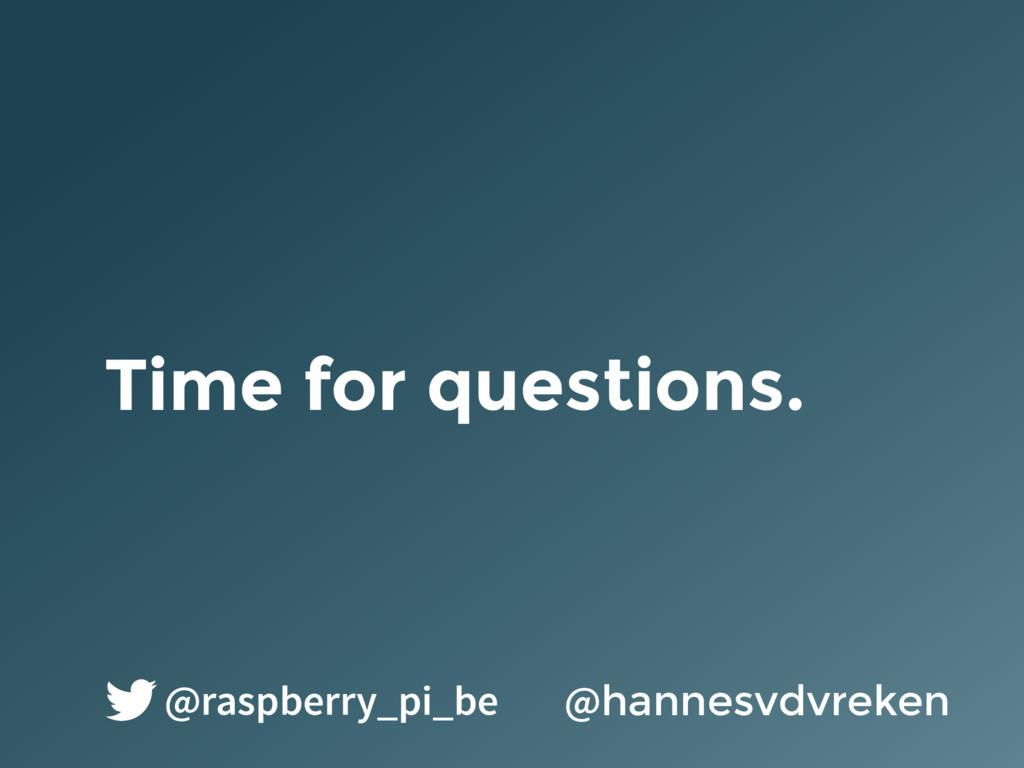 Time for questions. @hannesvdvreken @raspberry_...