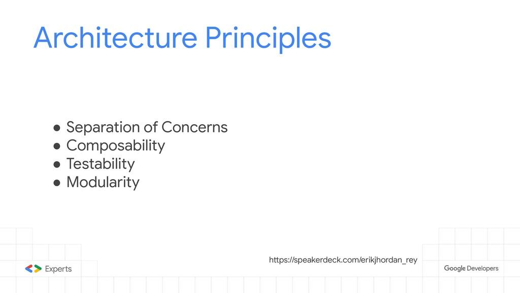 Architecture Principles ● Separation of Concern...