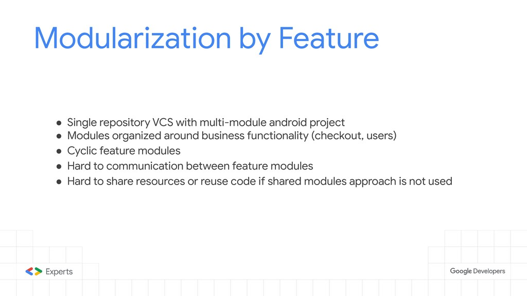 Modularization by Feature ● Single repository V...