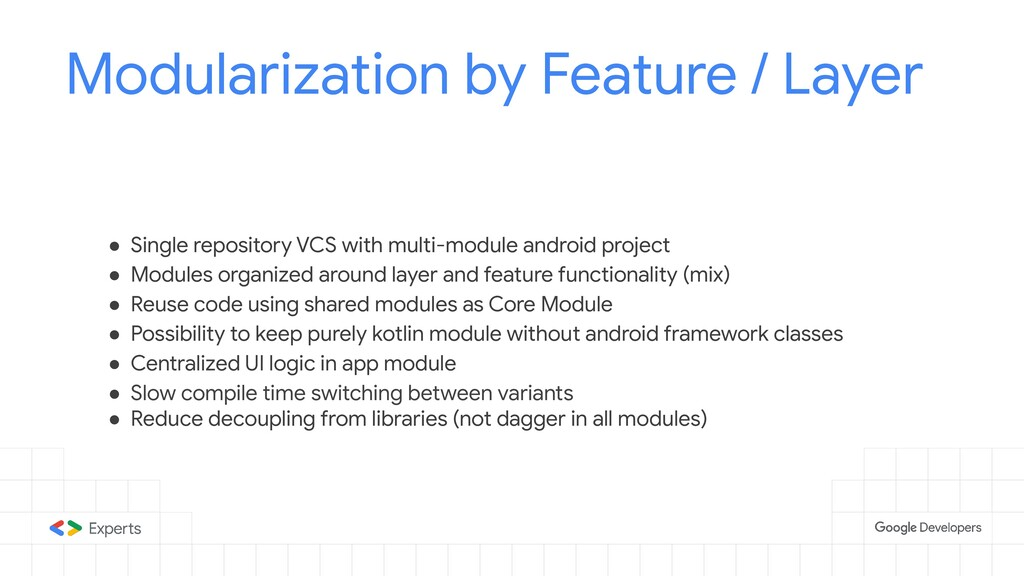 Modularization by Feature / Layer ● Single repo...