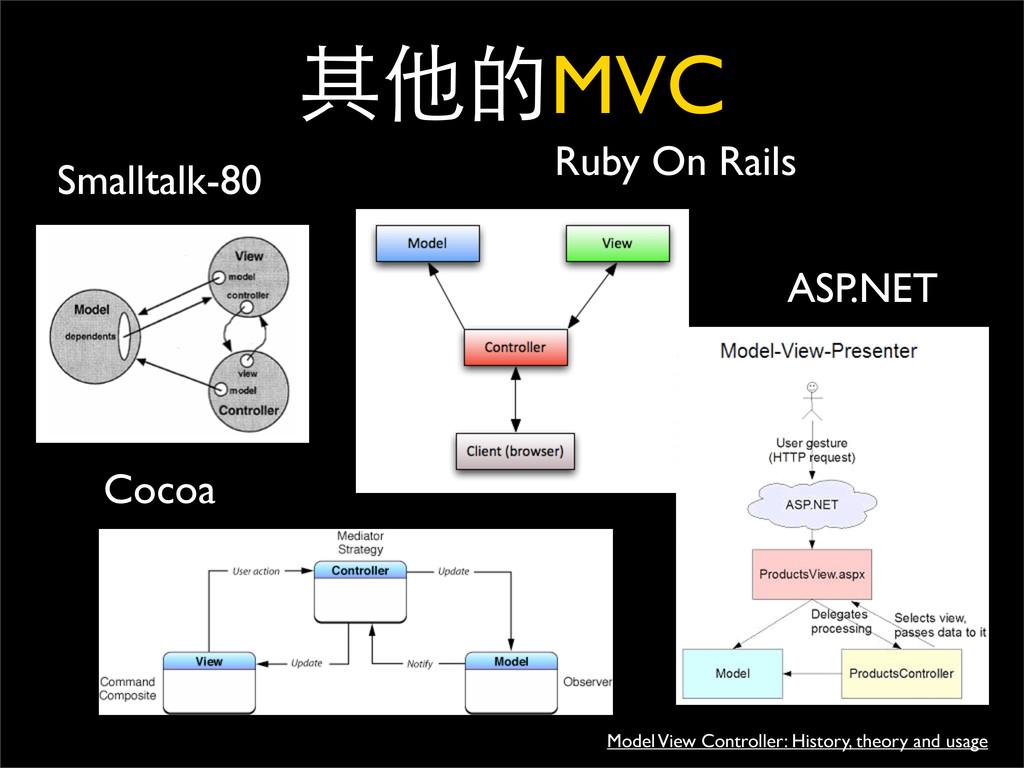 ః֥MVC Smalltalk-80 Cocoa Ruby On Rails ASP.NET...