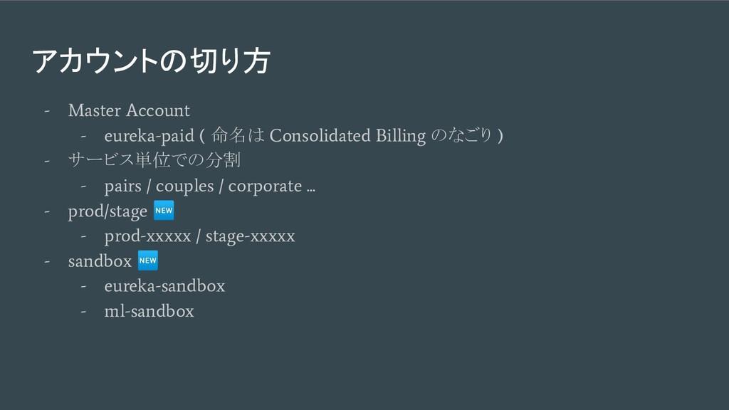 アカウントの切り方 - Master Account - eureka-paid ( 命名は ...