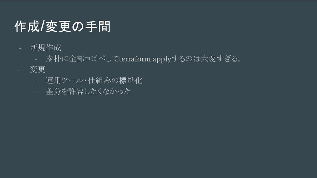 作成/変更の手間 - 新規作成 - 素朴に全部コピペして terraform apply する...