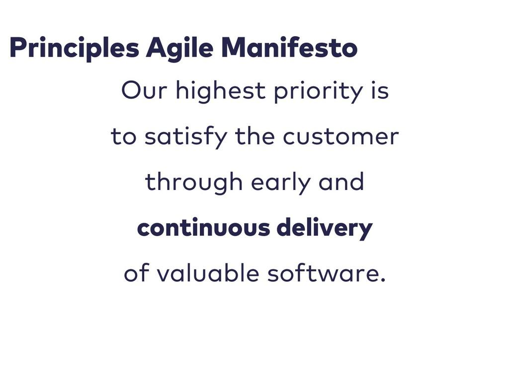 Principles Agile Manifesto Our highest priority...