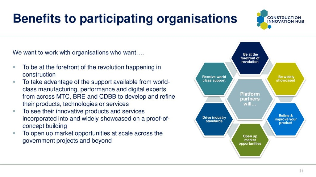 Benefits to participating organisations 11 We w...