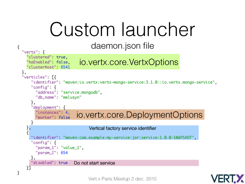 Vert.x Paris Meetup 2 dec. 2015 Custom launcher...