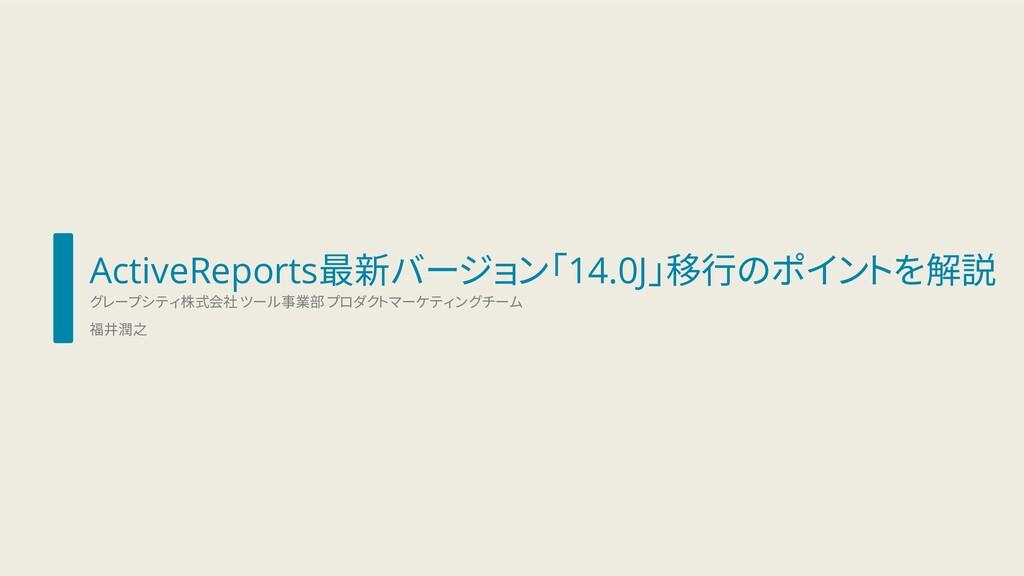 ActiveReports最新バージョン「14.0J」移行のポイントを解説 グレープシティ株式...