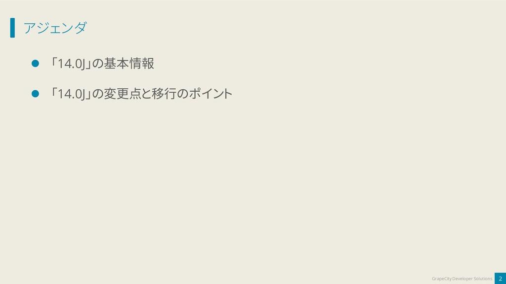 アジェンダ 2 GrapeCity Developer Solutions ⚫ 「14.0J」...