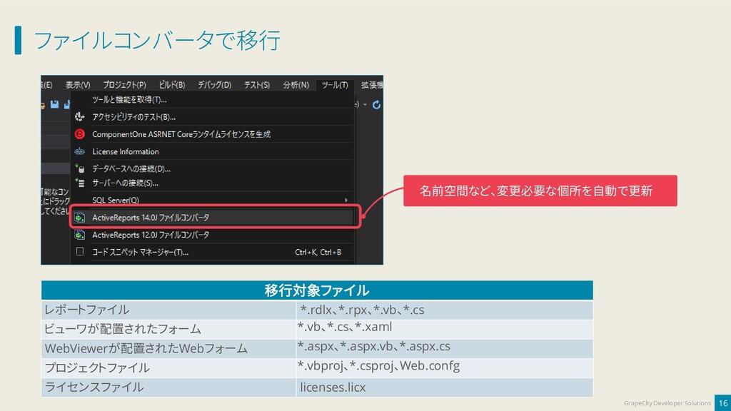 ファイルコンバータで移行 16 GrapeCity Developer Solutions 名...