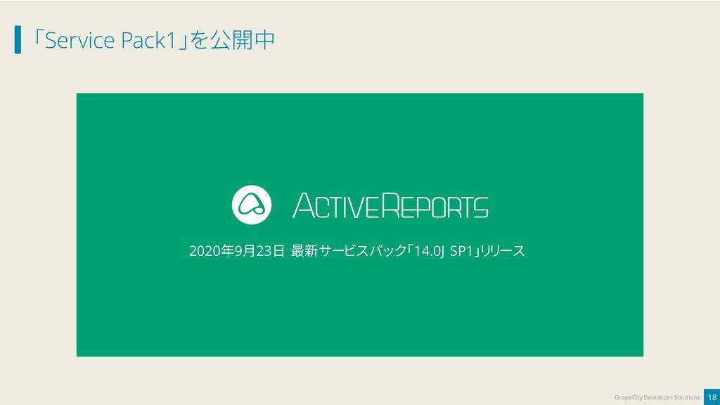 「Service Pack1」を公開中 18 GrapeCity Developer Solu...