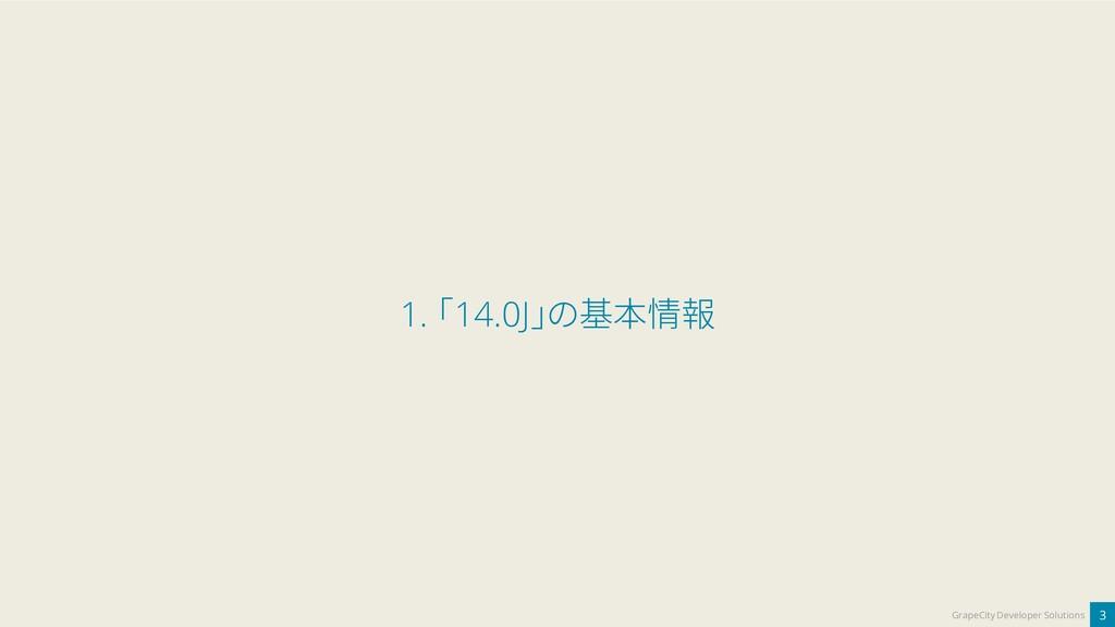 3 GrapeCity Developer Solutions 1. 「14.0J」の基本情報