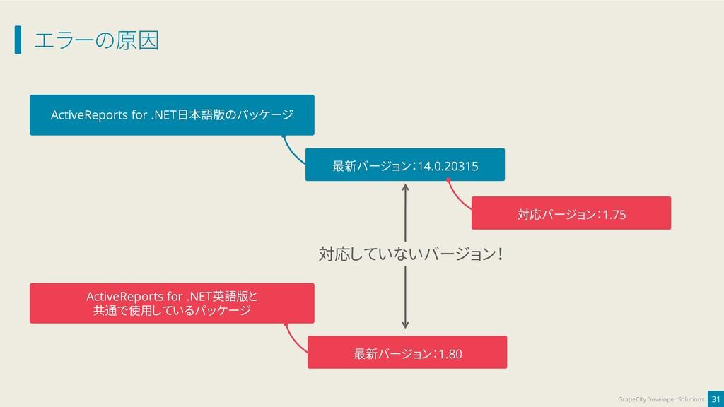 エラーの原因 31 GrapeCity Developer Solutions ActiveR...