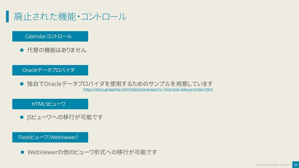 廃止された機能・コントロール 36 GrapeCity Developer Solutions...
