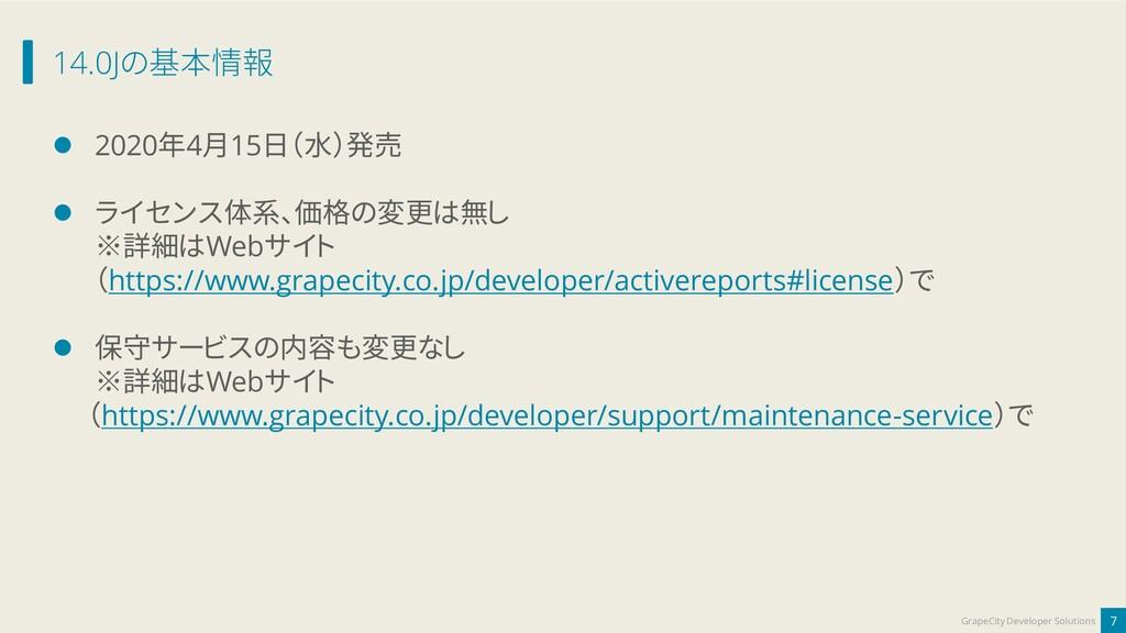 14.0Jの基本情報 7 GrapeCity Developer Solutions ⚫ 20...