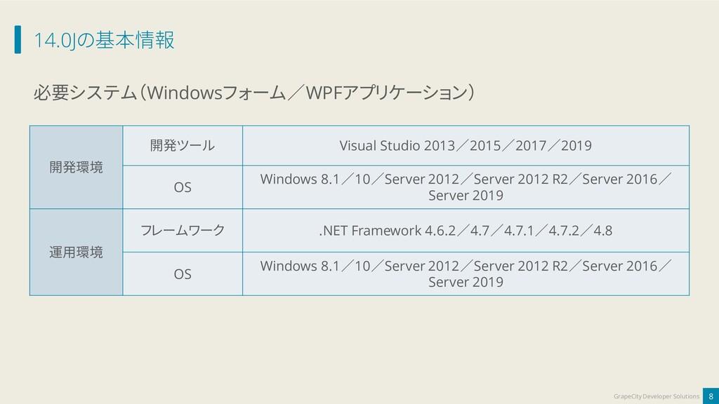 14.0Jの基本情報 8 GrapeCity Developer Solutions 必要シス...