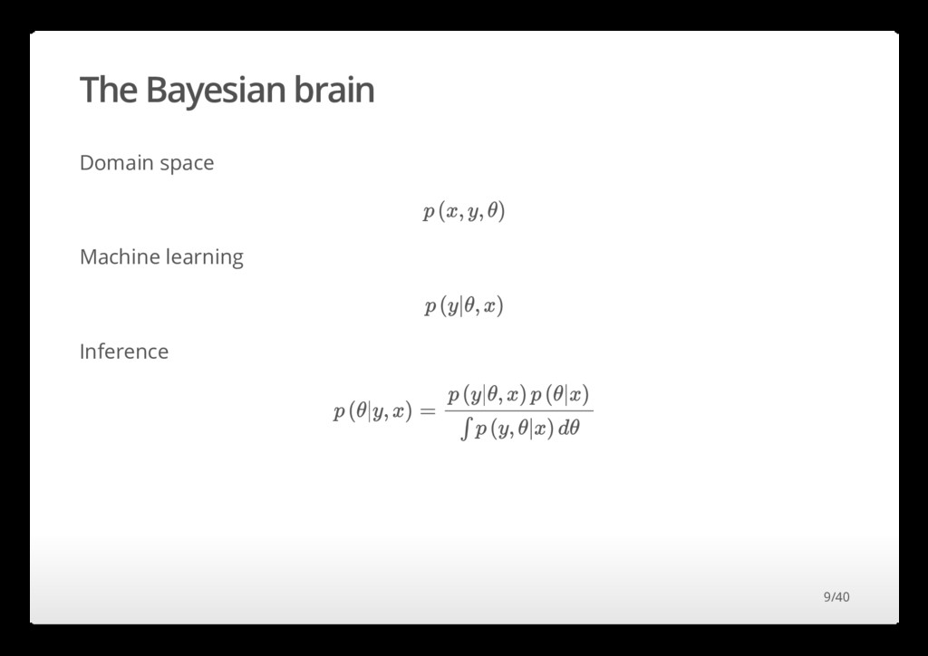 The Bayesian brain Domain space Machine learnin...