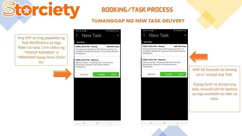 BOOKING/TASK PROCESS TUMANGGAP NG NEW TASK/DELI...