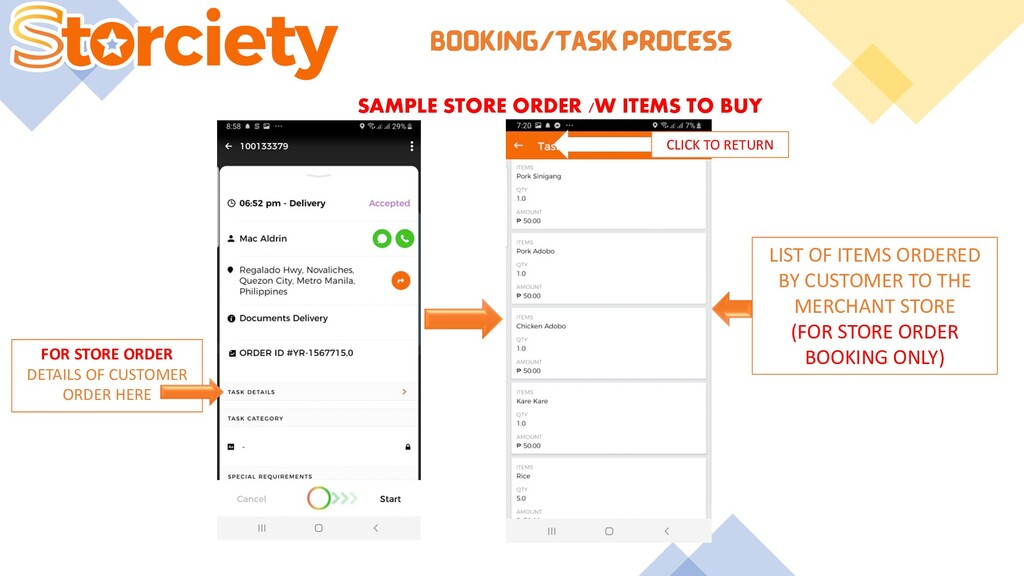 BOOKING/TASK PROCESS SAMPLE STORE ORDER /W ITEM...