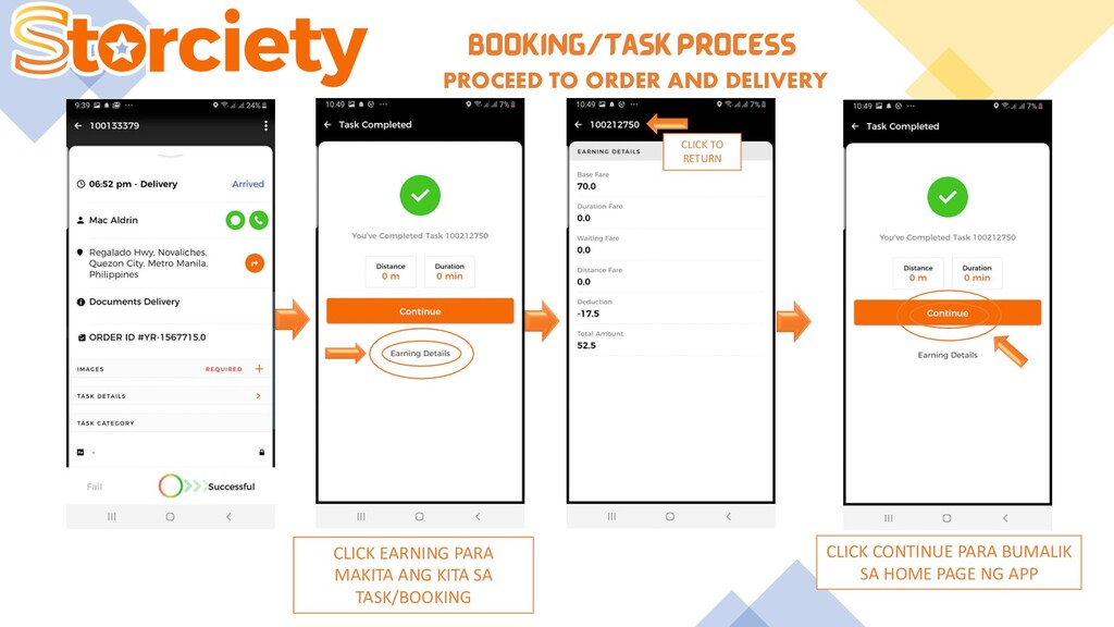 BOOKING/TASK PROCESS PROCEED TO ORDER AND DELIV...
