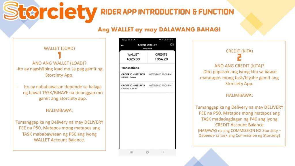 RIDER APP INTRODUCTION & FUNCTION Ang WALLET ay...