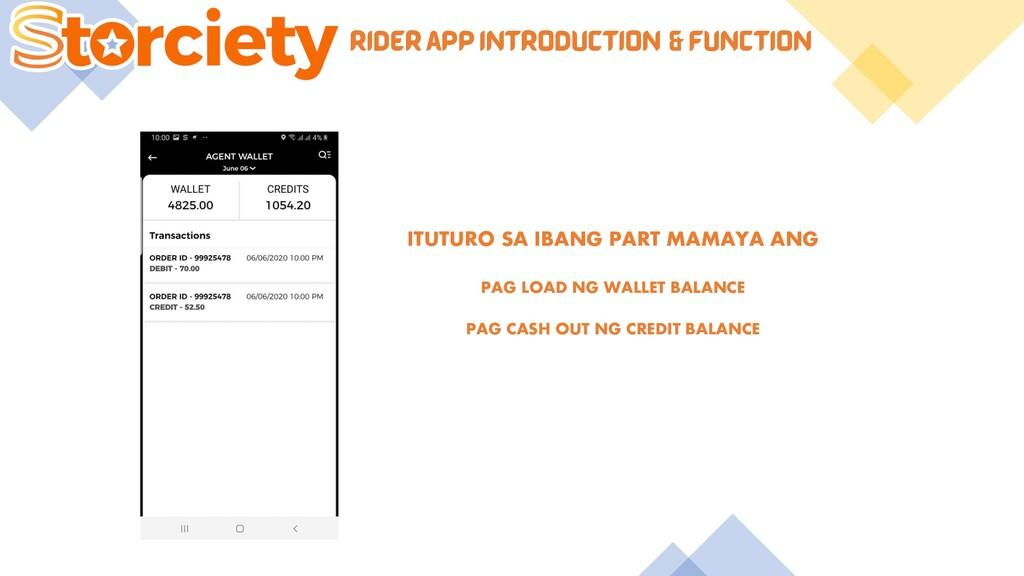 RIDER APP INTRODUCTION & FUNCTION ITUTURO SA IB...