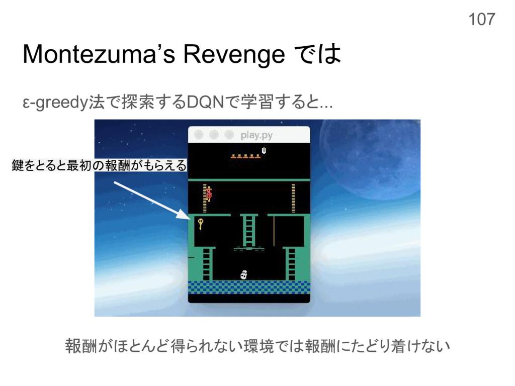 Montezuma's Revenge では ε-greedy法で探索するDQNで学習すると....