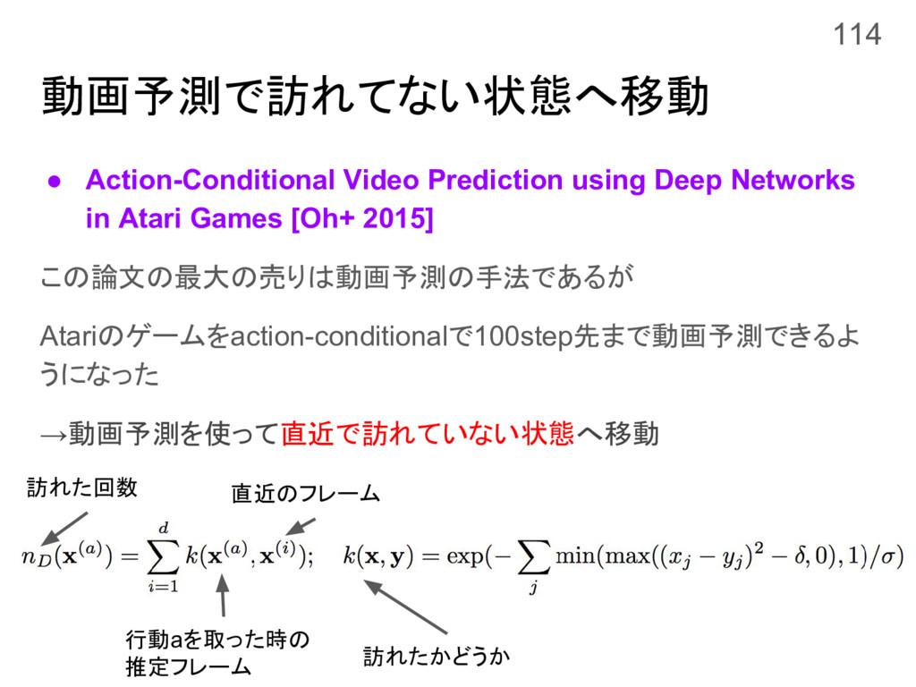 動画予測で訪れてない状態へ移動 ● Action-Conditional Video Pred...
