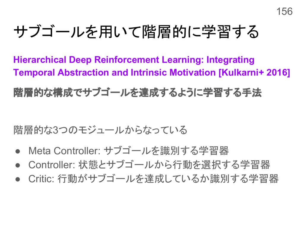 サブゴールを用いて階層的に学習する Hierarchical Deep Reinforceme...