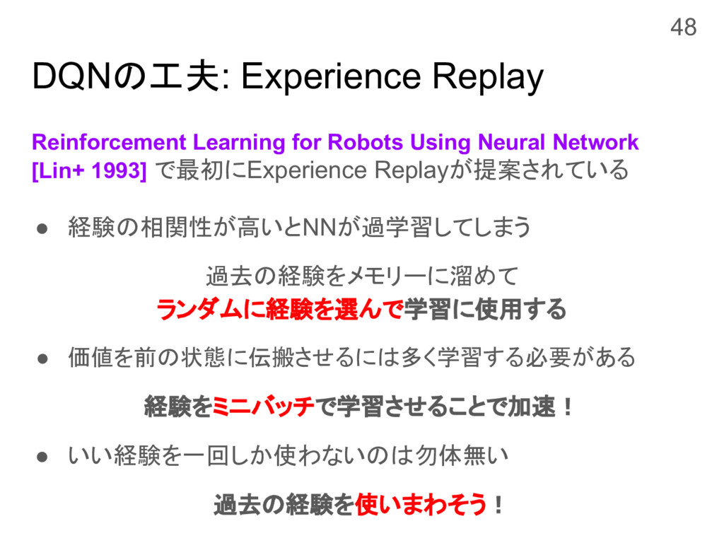 DQNの工夫: Experience Replay Reinforcement Learnin...