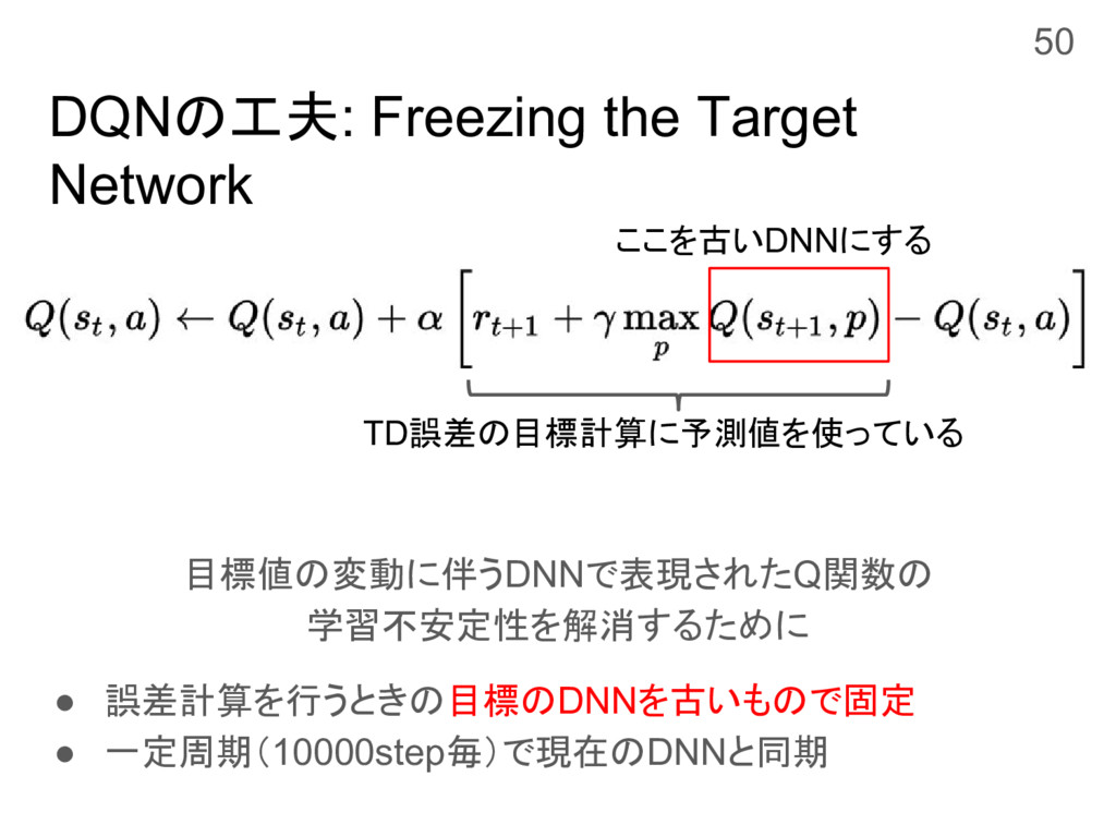 DQNの工夫: Freezing the Target Network 目標値の変動に伴うDN...