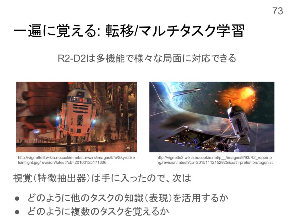 一遍に覚える: 転移/マルチタスク学習 R2-D2は多機能で様々な局面に対応できる 視覚(特徴...