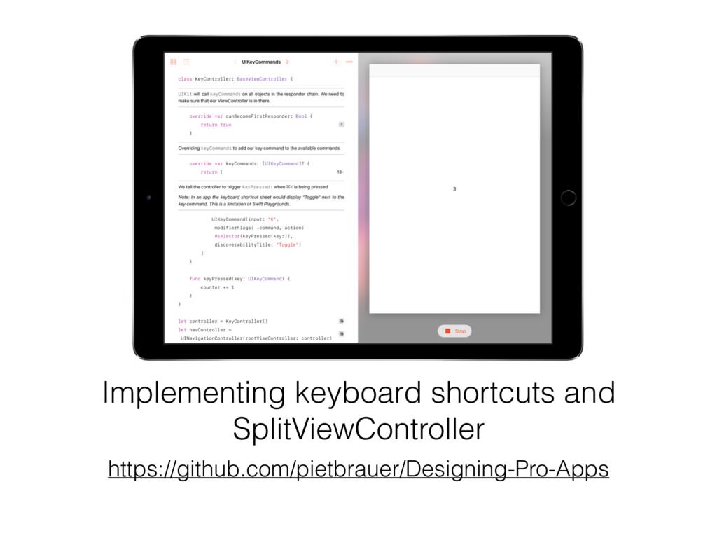 Implementing keyboard shortcuts and SplitViewCo...