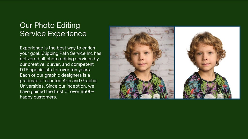 Our Photo Editing Service Experience Experience...