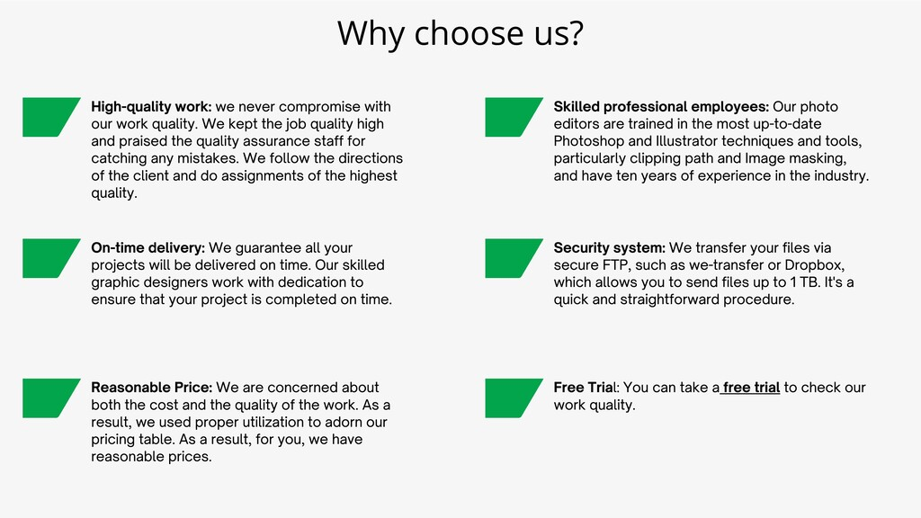 High-quality work: we never compromise with our...