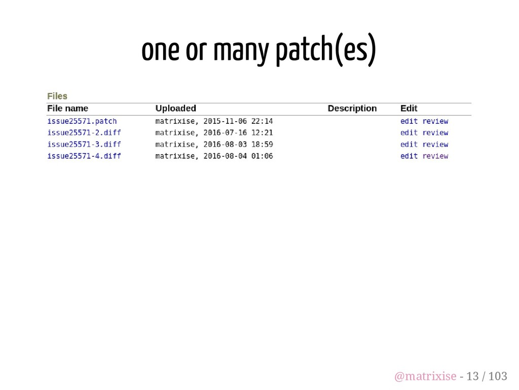 one or many patch(es) @matrixise - 13 / 103