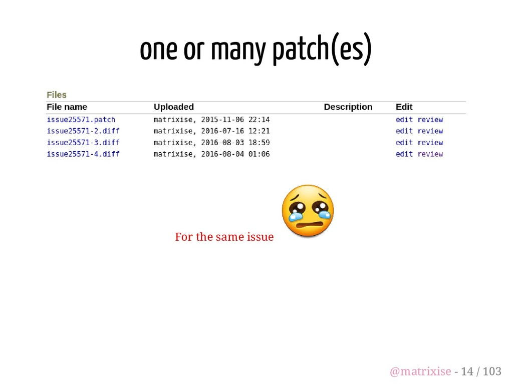 one or many patch(es) For the same issue @matri...