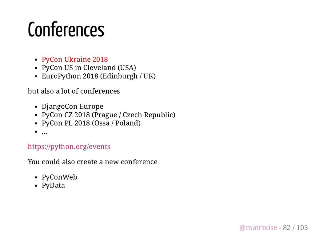 Conferences PyCon Ukraine 2018 PyCon US in Clev...