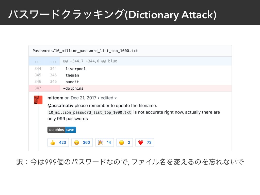 ύεϫʔυΫϥοΩϯά(Dictionary Attack) ༁ɿࠓ999ݸͷύεϫʔυͳͷ...