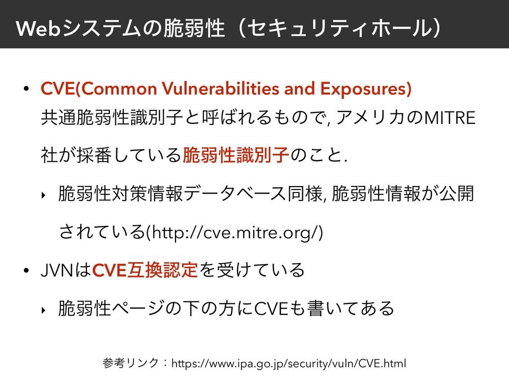 WebγεςϜͷ੬ऑੑʢηΩϡϦςΟϗʔϧʣ • CVE(Common Vulnerabili...