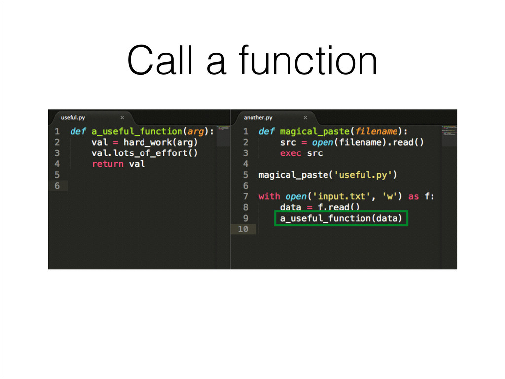 Call a function