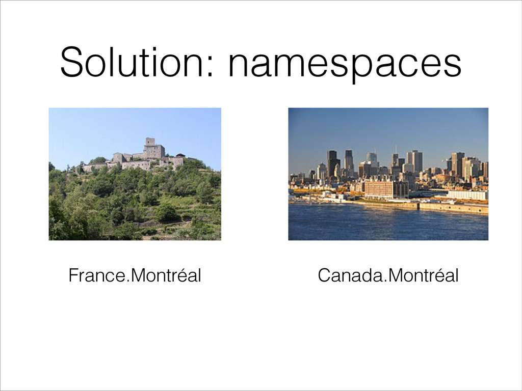 Solution: namespaces France.Montréal Canada.Mon...
