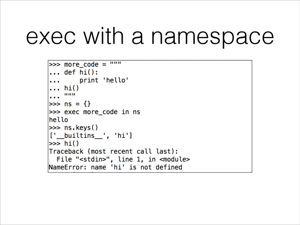 exec with a namespace