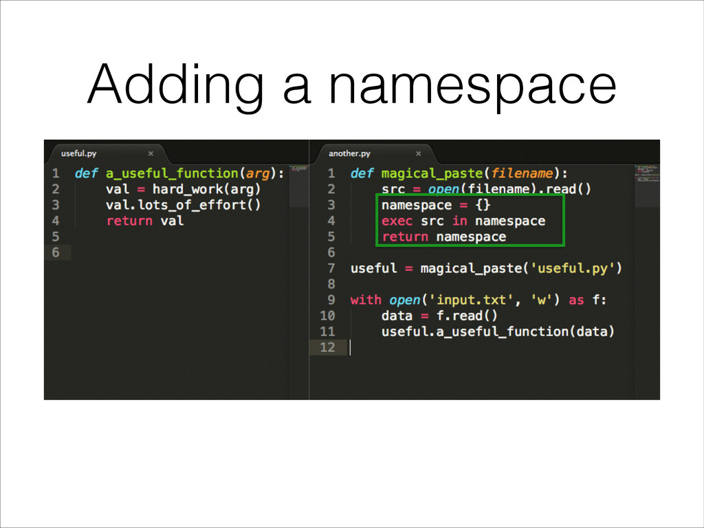 Adding a namespace