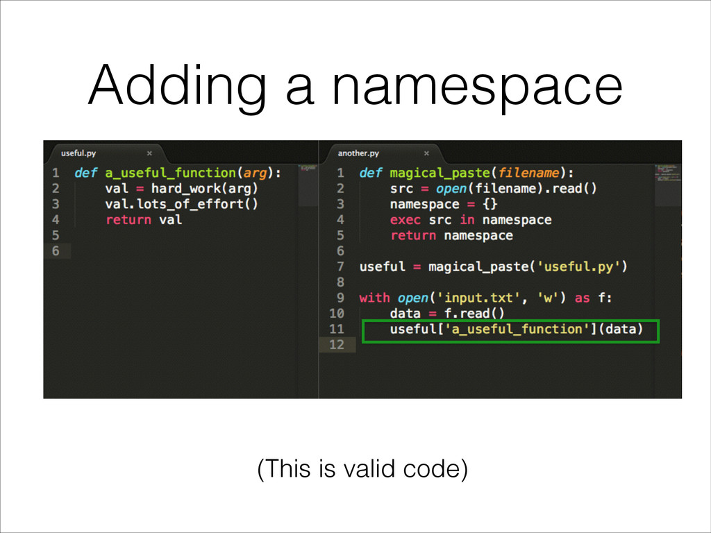 Adding a namespace (This is valid code)