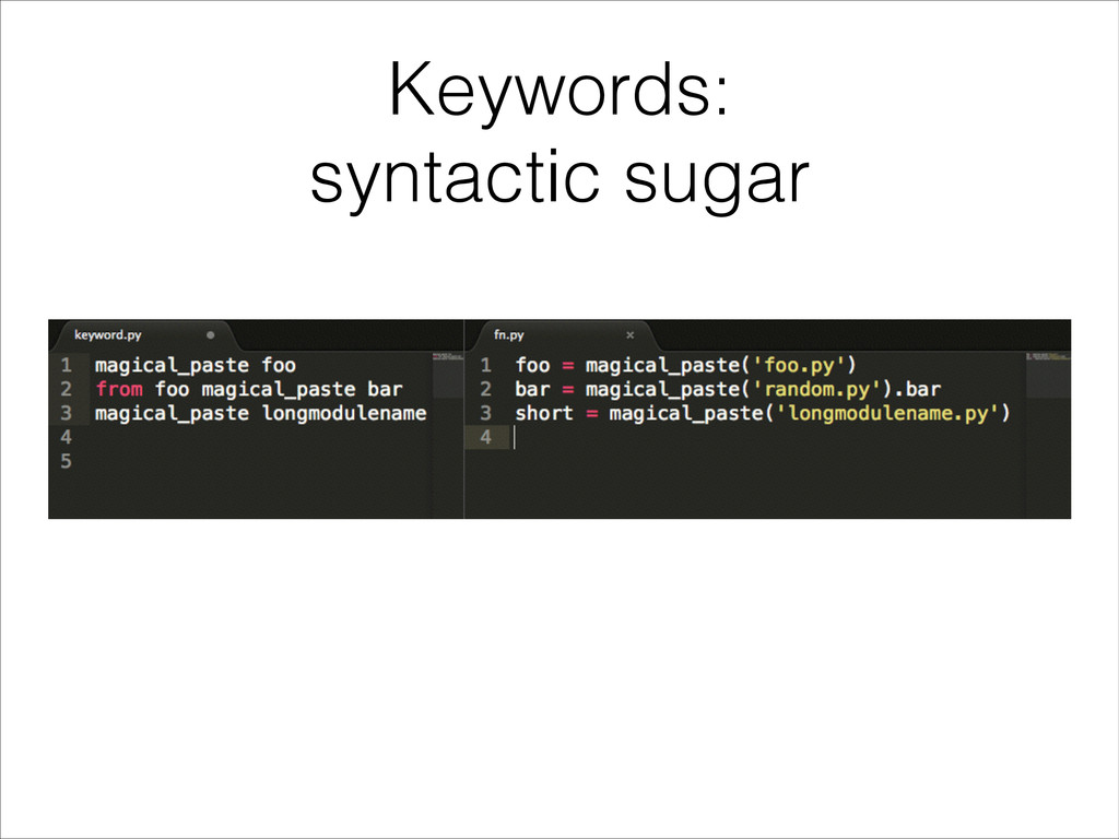 Keywords: syntactic sugar