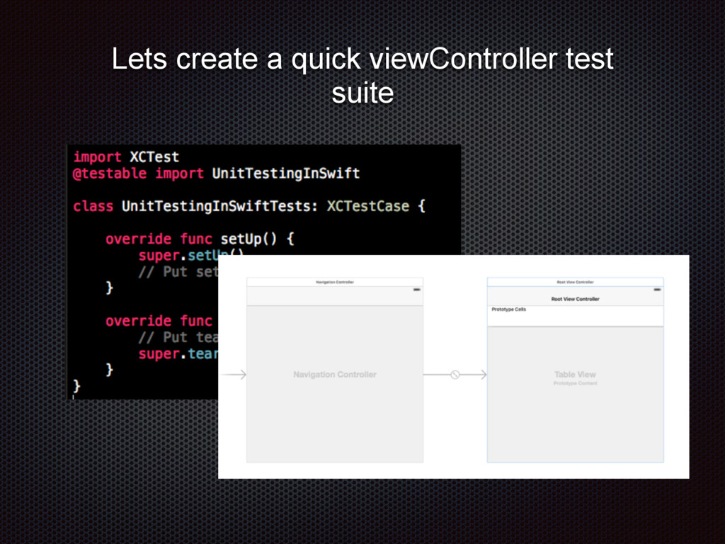 Lets create a quick viewController test suite