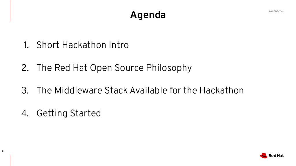 CONFIDENTIAL Agenda 2 1. Short Hackathon Intro ...