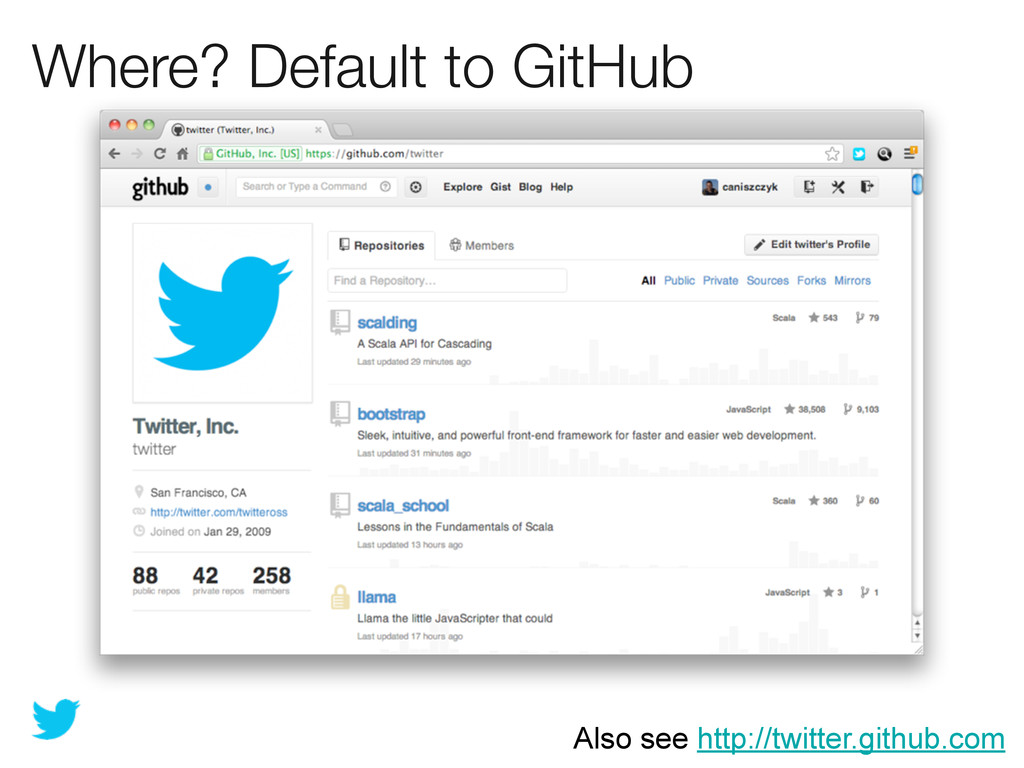Where? Default to GitHub Also see http://twitte...