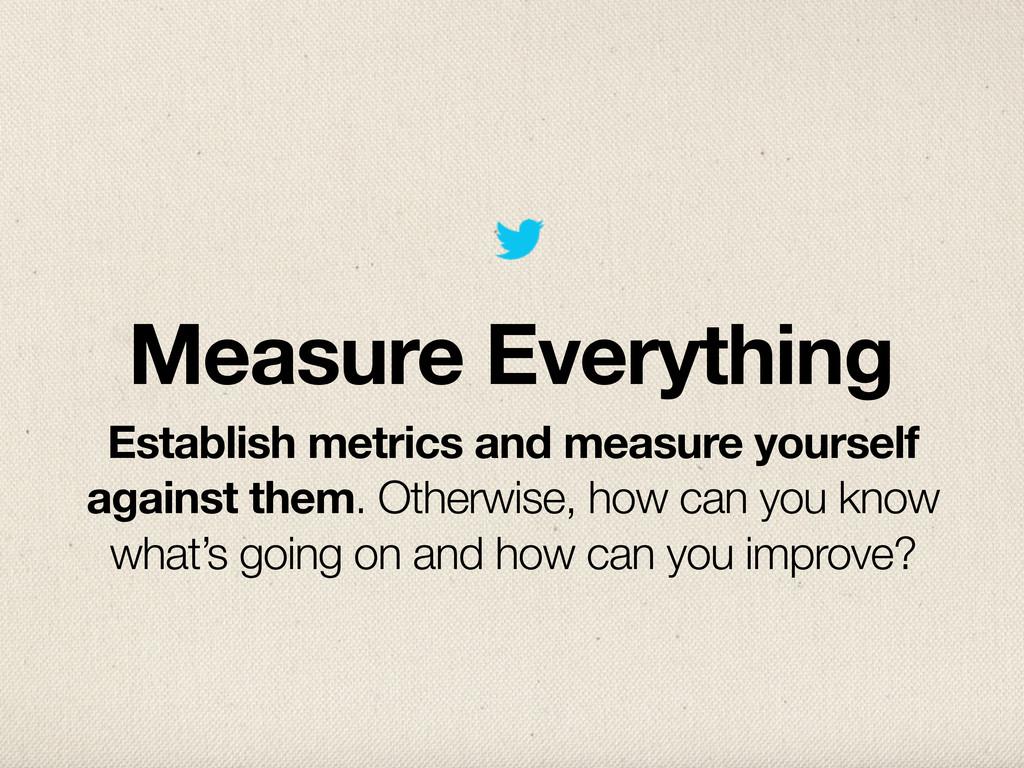 Measure Everything Establish metrics and measur...
