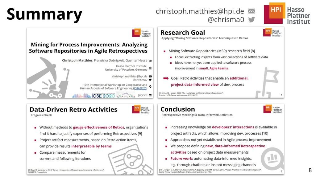 Summary 8 christoph.matthies@hpi.de @chrisma0